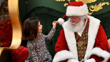 A child meets Santa Claus at a store grotto