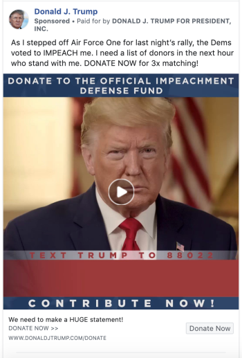 Facebook ad showing Donald Trump and the winning version of the ad copy.