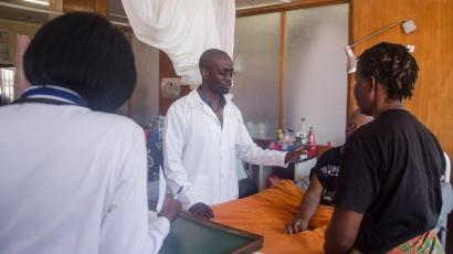 Stanley Zimba seeing a patient