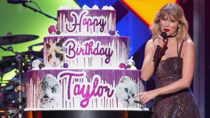 Taylor Swift and birthday cake.
