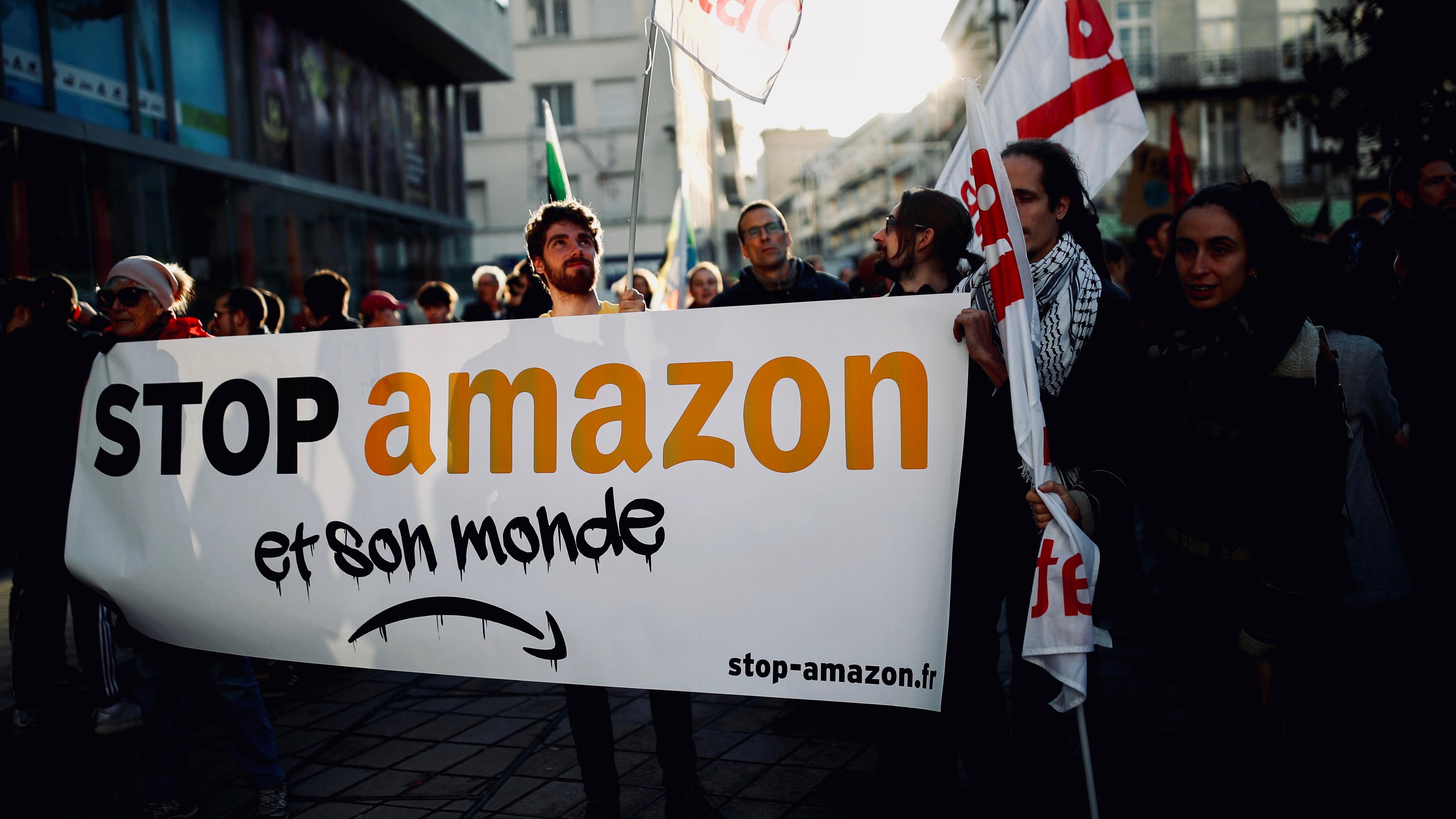 Protesting Amazon France.