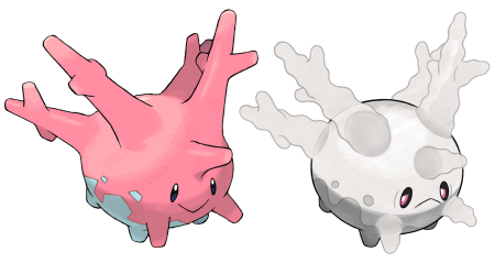 A side-by-side comparison of two versions of the coral based Pokemon, Corsola. On the left is a pink and happy Corsola. The one on the right has been bleached white through toxic waters.