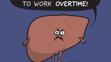 "A cartoon liver frowning and saying ""I hope you have fun while some of us have to work overtime!"""