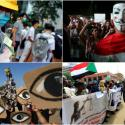 Clockwise from left, protests in Hong Kong, Lebanon, Sudan, and Chile.