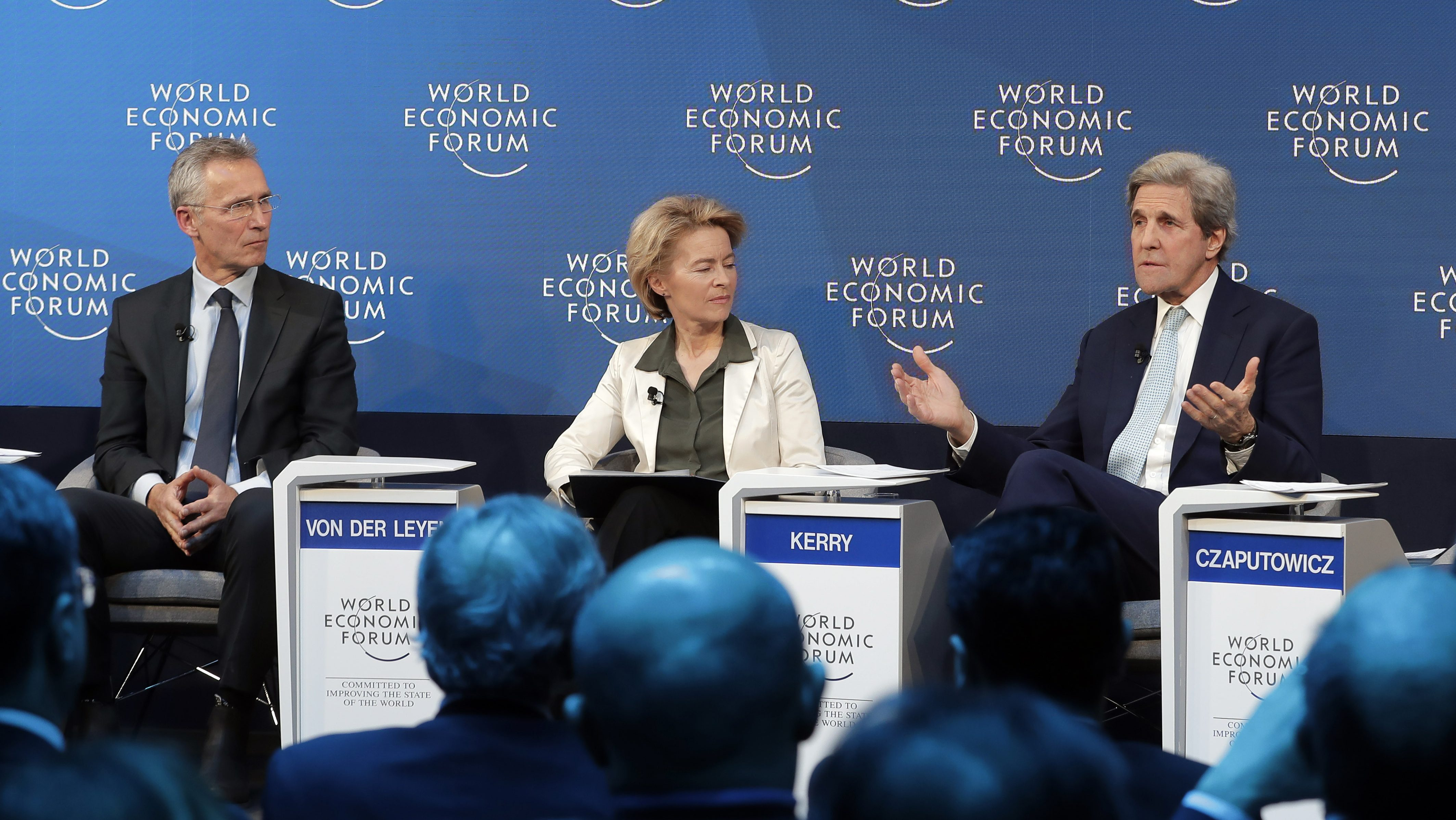 Jens Stoltenberg, Secretary General of NATO, Germany's Minister of Defence Ursula von der Leyen, and former United States Secretary of State John Kerry, participate in a panel discussion at the 2019 meeting of the World Economic Forum in Davos, Switzerland.