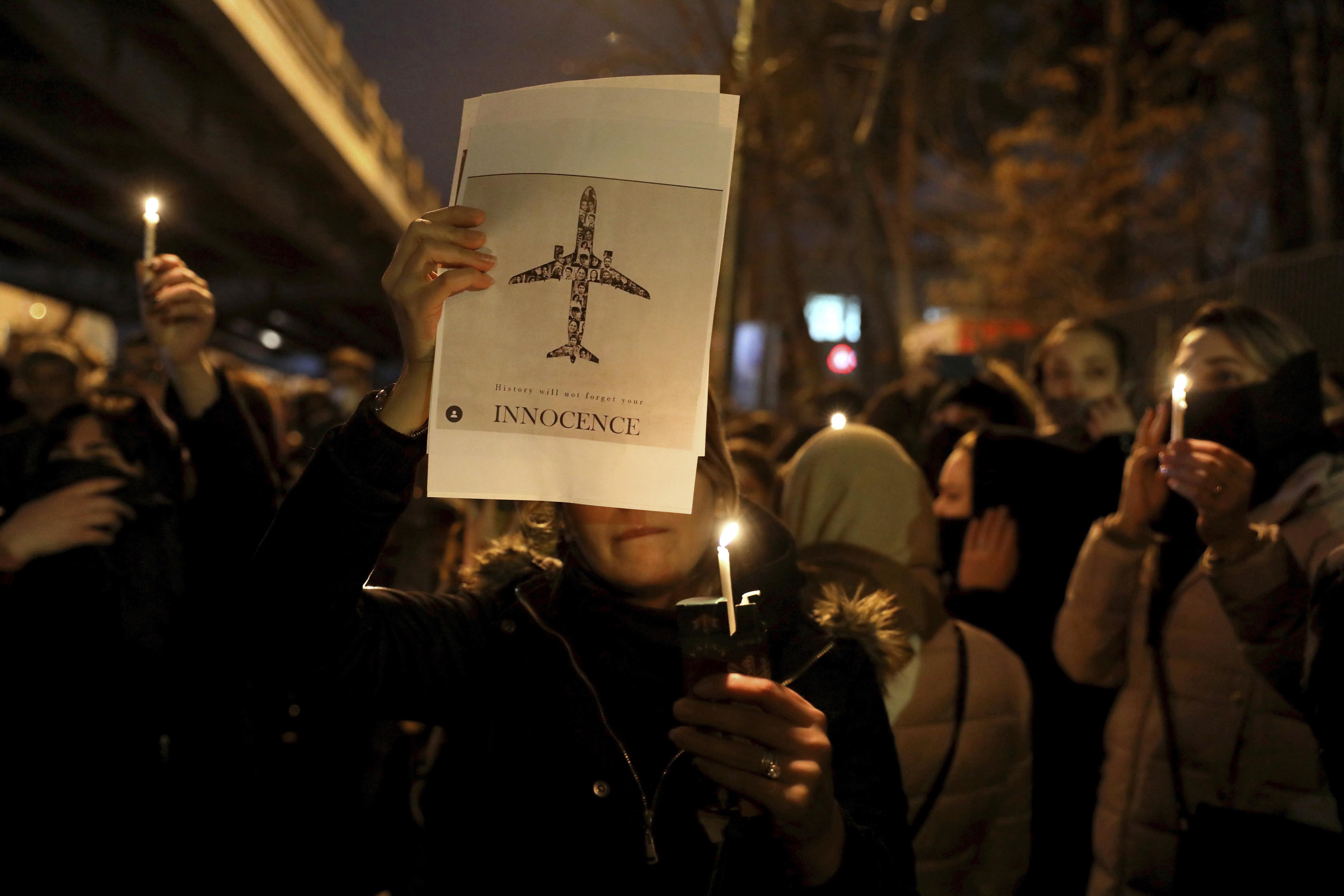 candlelight vigil ukraine jet iran