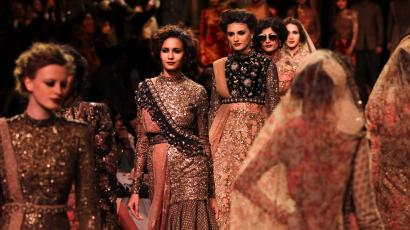 A shot of the exquisitely embroidered gowns by Sabyasachi