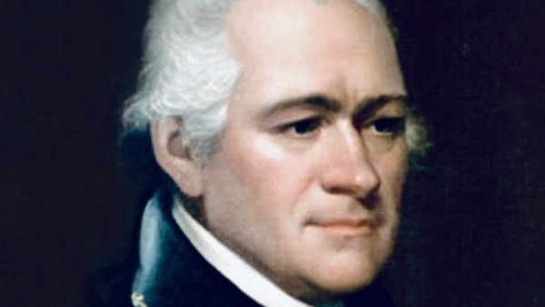 Alexander Hamilton portrait, cropped, close-up.