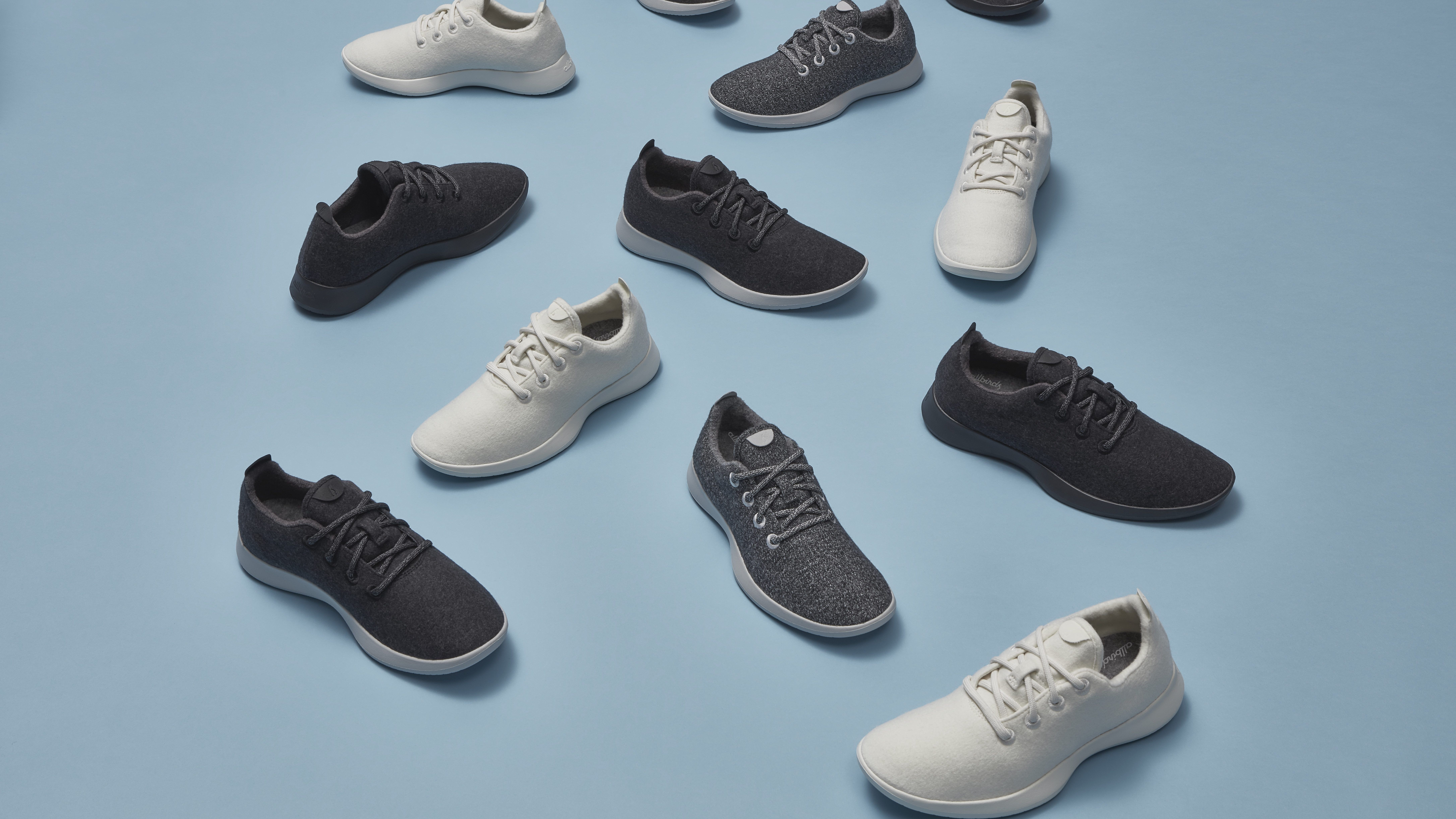 An array of Allbirds simple sneakers against a muted background