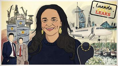 Illustration of Isabel dos Santos surrounded by oil, jewels, Western advisors