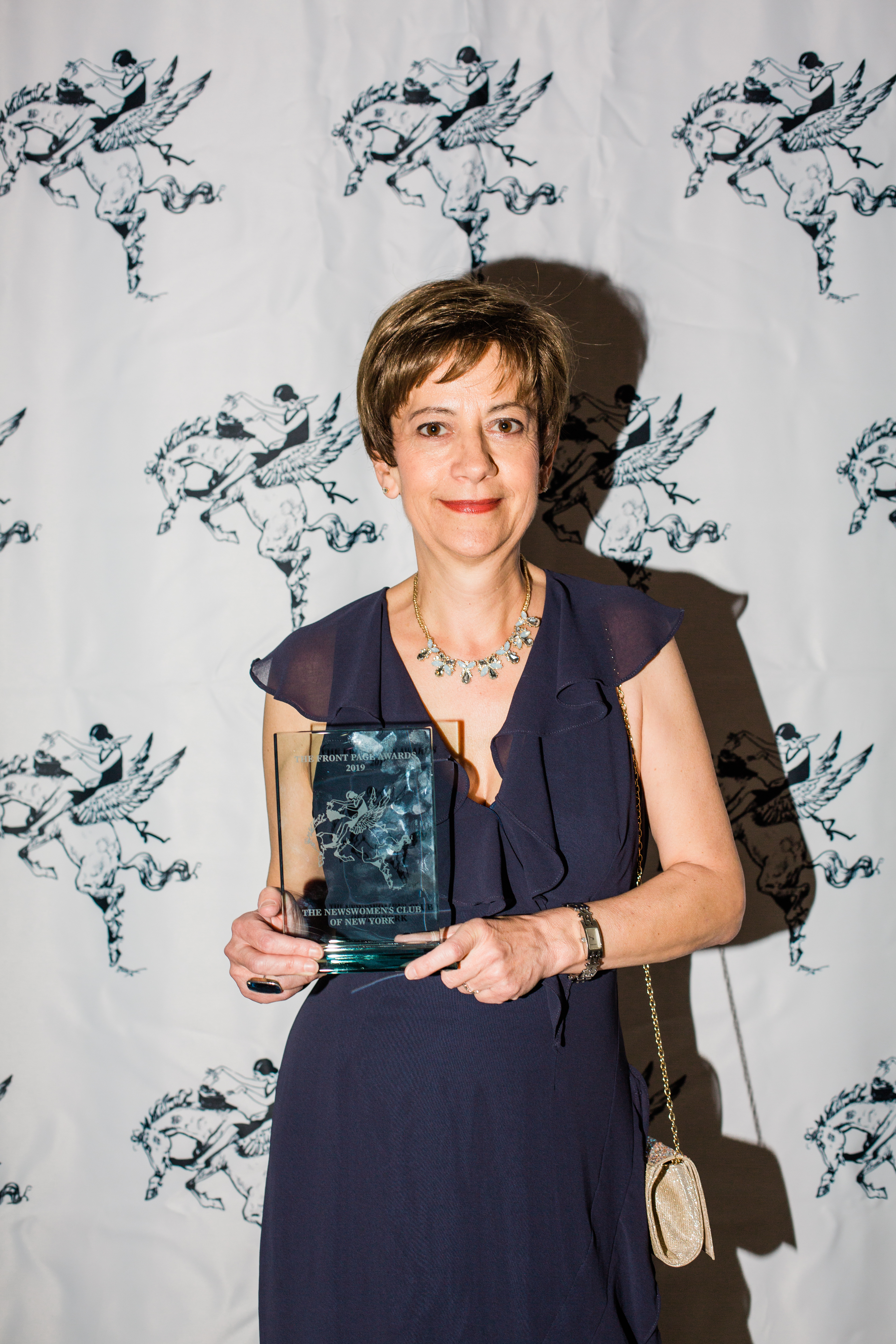 Xana Antunes with lifetime award from the Newswomen's Club of New York