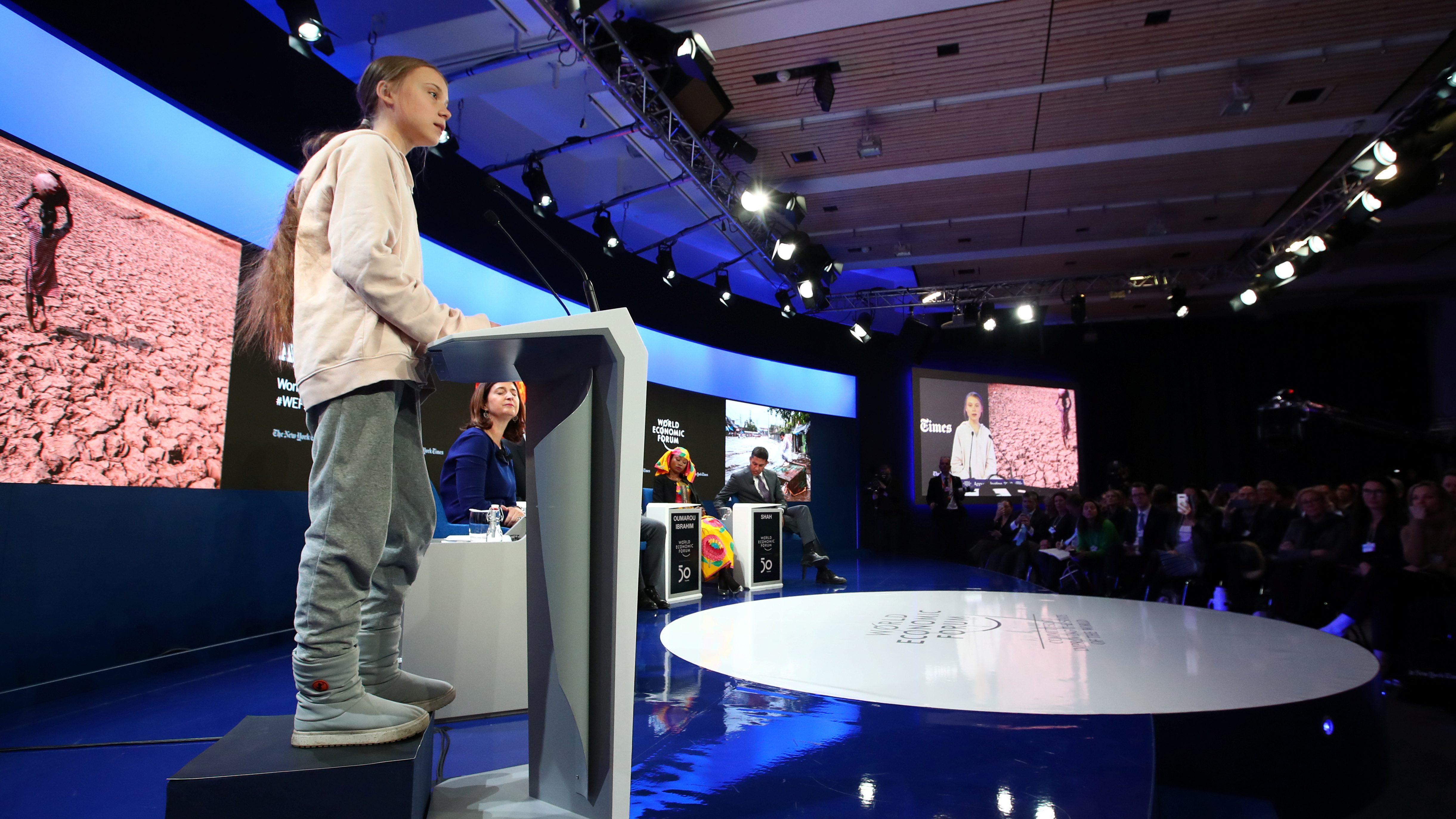Greta Thunberg speaks during a WEF session