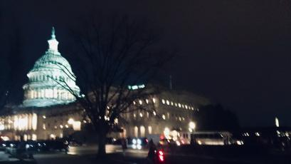 The Capitol at night after the no witness vote Friday.