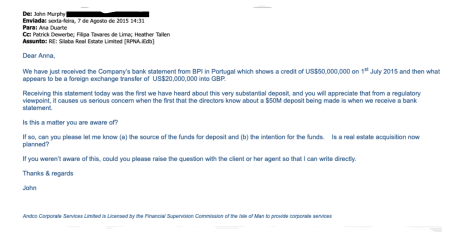 Email by dos Santos' formation agent John Murphy about mysterious $50 million