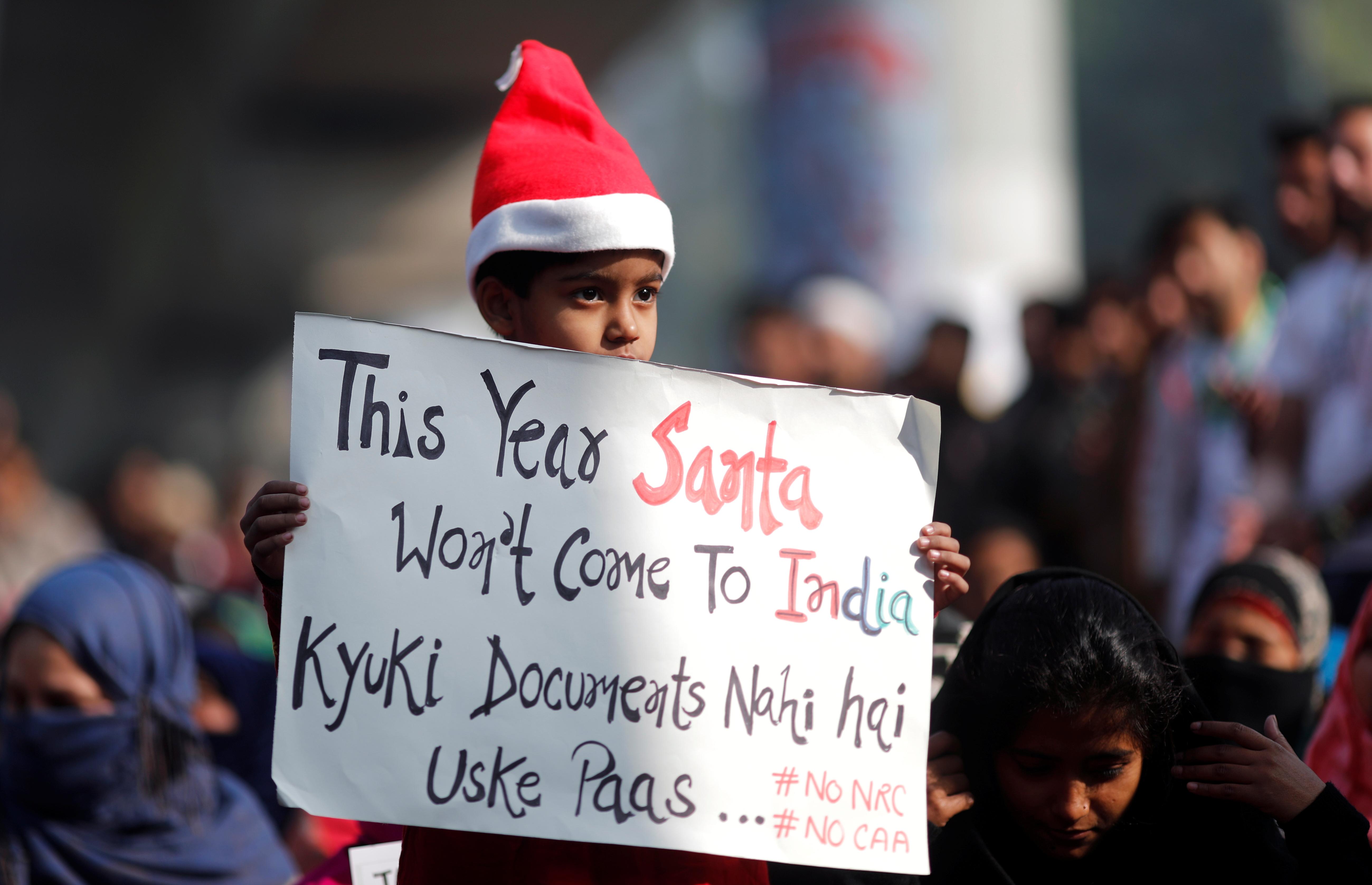 Protest against a new citizenship law outside the Jamia Millia Islamia university in New Delhi