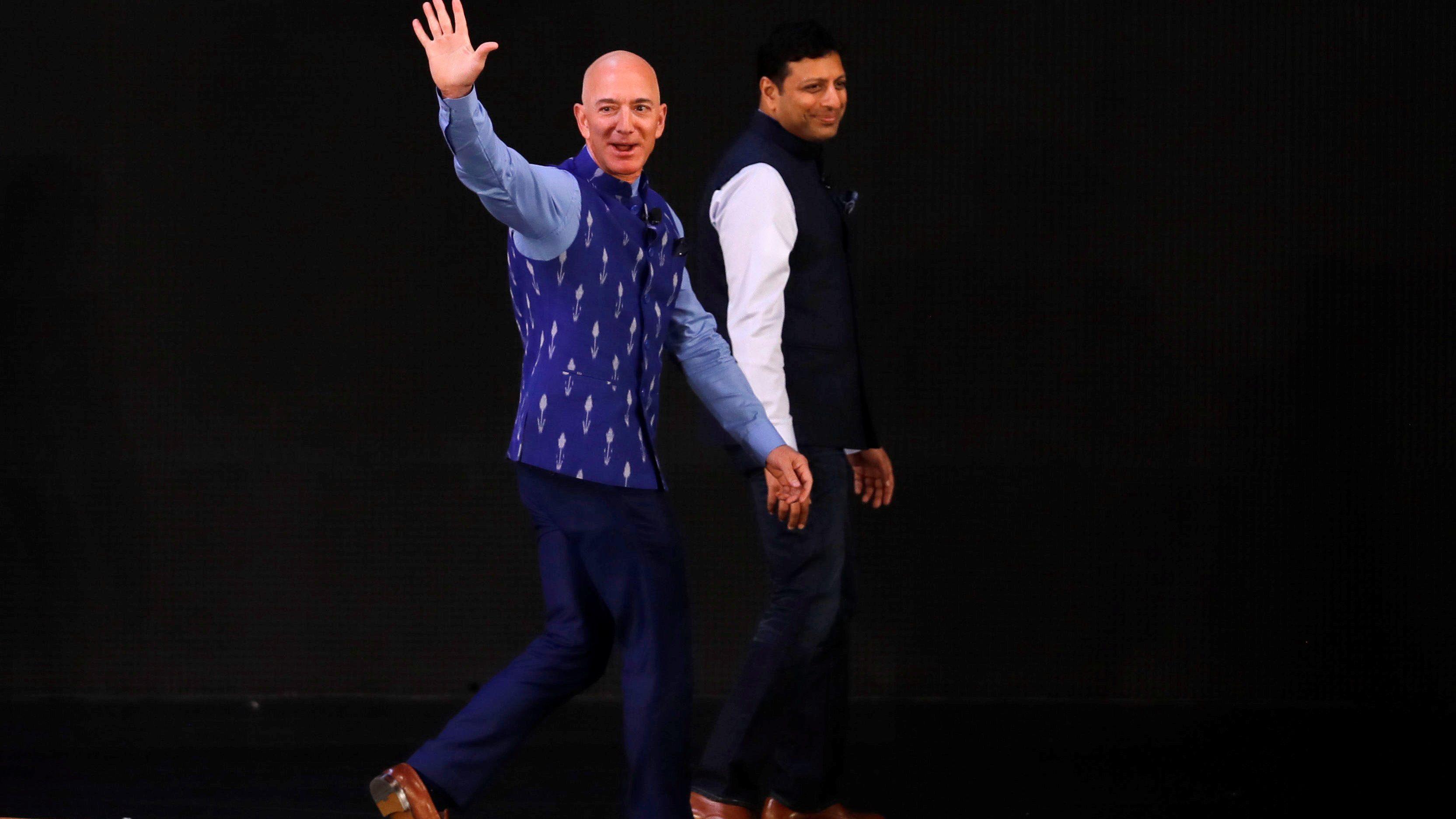 Jeff Bezos, founder of Amazon, attends a company event in New Delhi