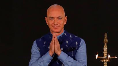 Jeff Bezos wearing a Nehru jacket at an event in India