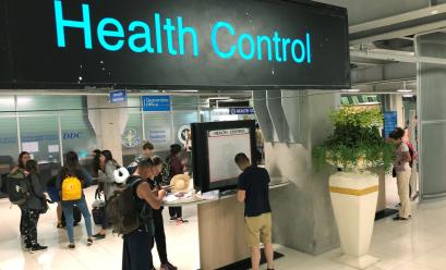 Tourist line-up in a health control at the arrival section at Suvarnabhumi international airport in Bangkok, Thailand, Januaruy 19, 2020.
