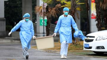 Public health workers carrying a box