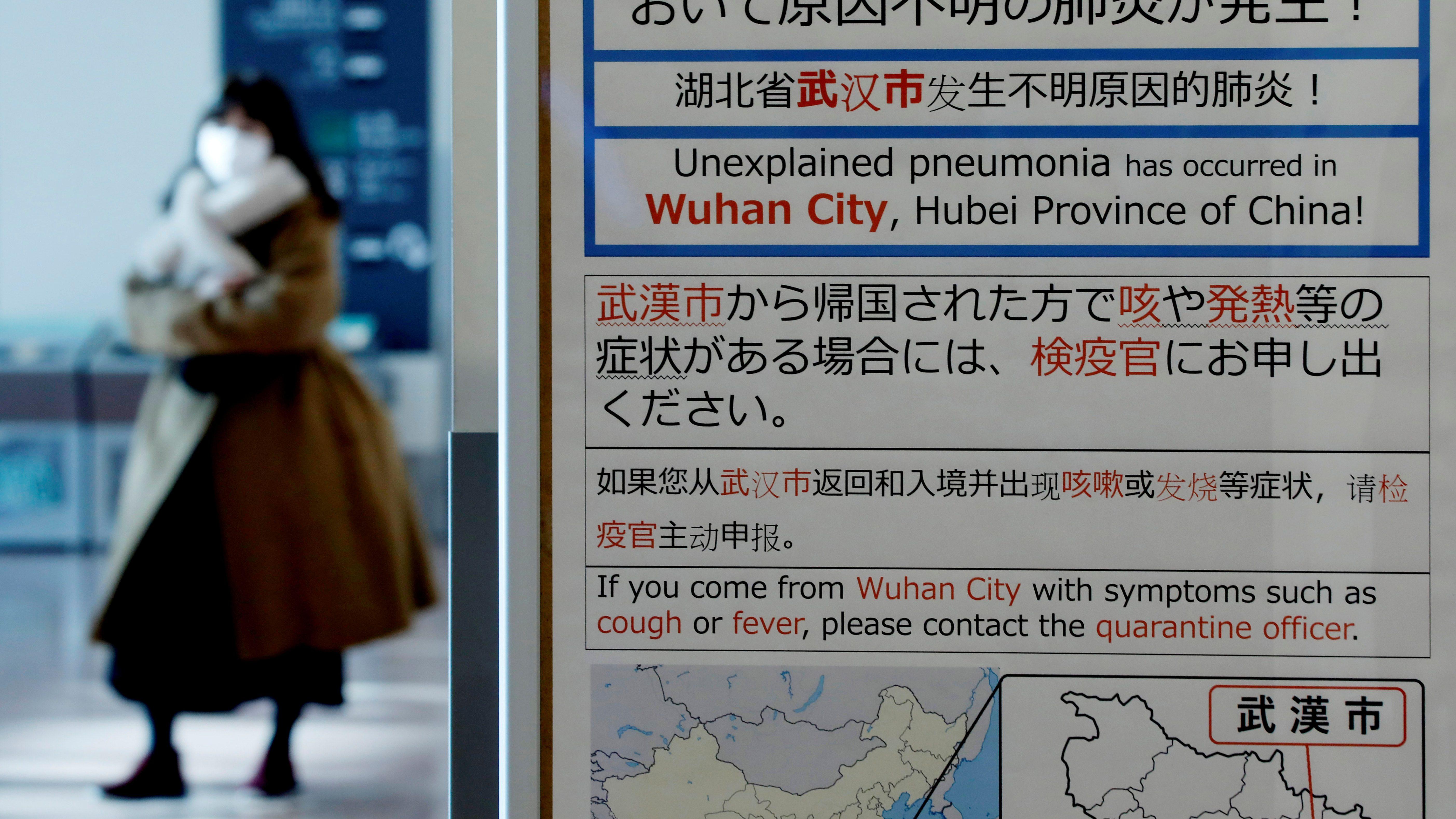 Wuhan outbreak notice in Tokyo.
