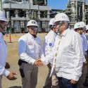 Mexican president Andres Manuel Lopez Obrador shakes hands with staff as he visits state oil giant Pemex's refinery in Veracruz.