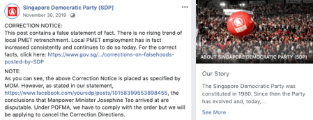 """Singapore's new """"fake news"""" law applied to Singapore Democratic Party posts on foreign employment"""
