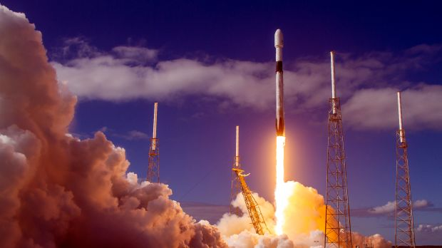 Sixty Starlink satellites head into space onboard a Falcon 9 rocket in November 2019.