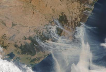 Smoke rising from Australia's fires on Jan. 4, 2020.