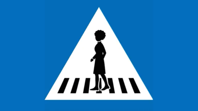 Geneva's new pedestrian crossing sign featuring a woman with an Afro