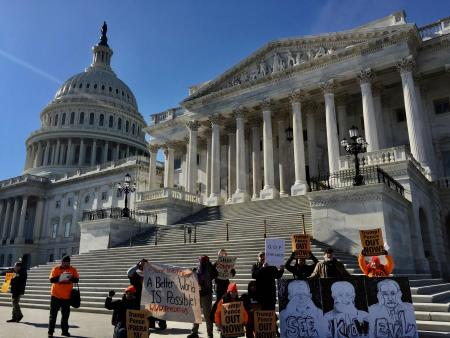 Impeachment trial. Protestors demand senators see all the evidence.