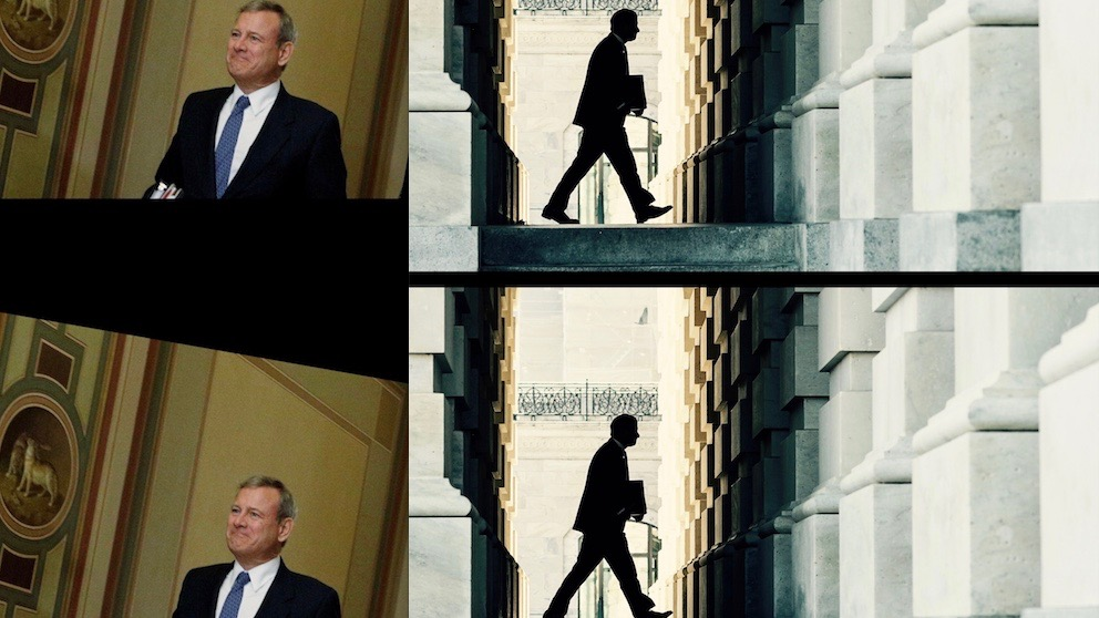 John Roberts in collaged shots heading to Senate impeachment trial.