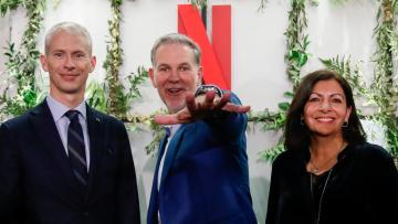 attends the inauguration of Netflix new offices in Paris