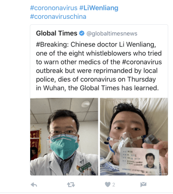 The Global Times breaking news tweet on Li Wenliang's death was later deleted.