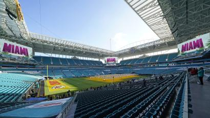 Grow lights cover a portion of the grass field inside Hard Rock Stadium Tuesday, Jan. 28, 2020, in Miami Gardens, Fla., in preparation for the NFL Super Bowl