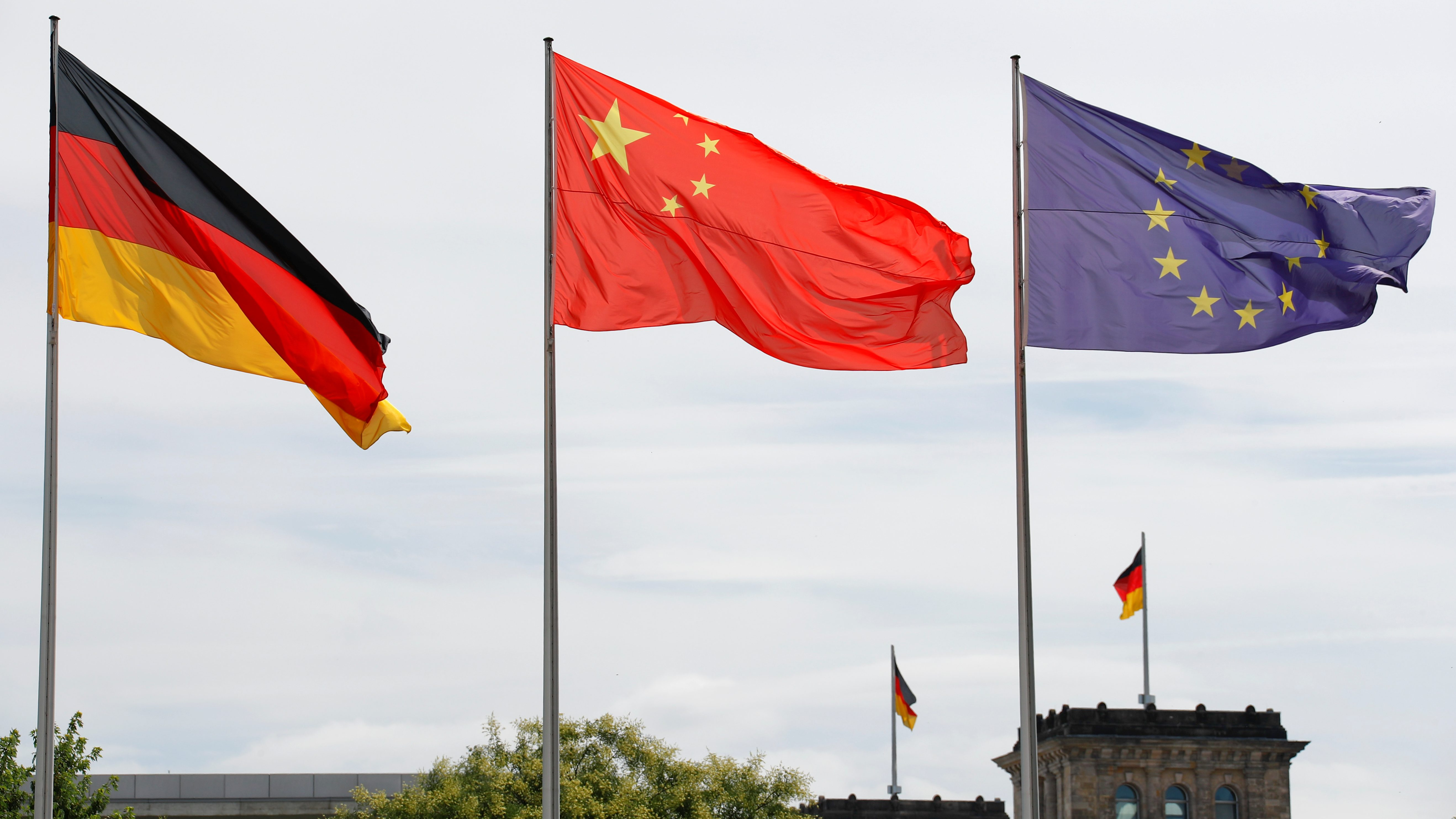 German, Chinese and EU flags