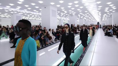 Models wearing black looks walk the runway at the Gucci Spring/Summer 2020 fashion show during Milan Fashion Week on September 22, 2019