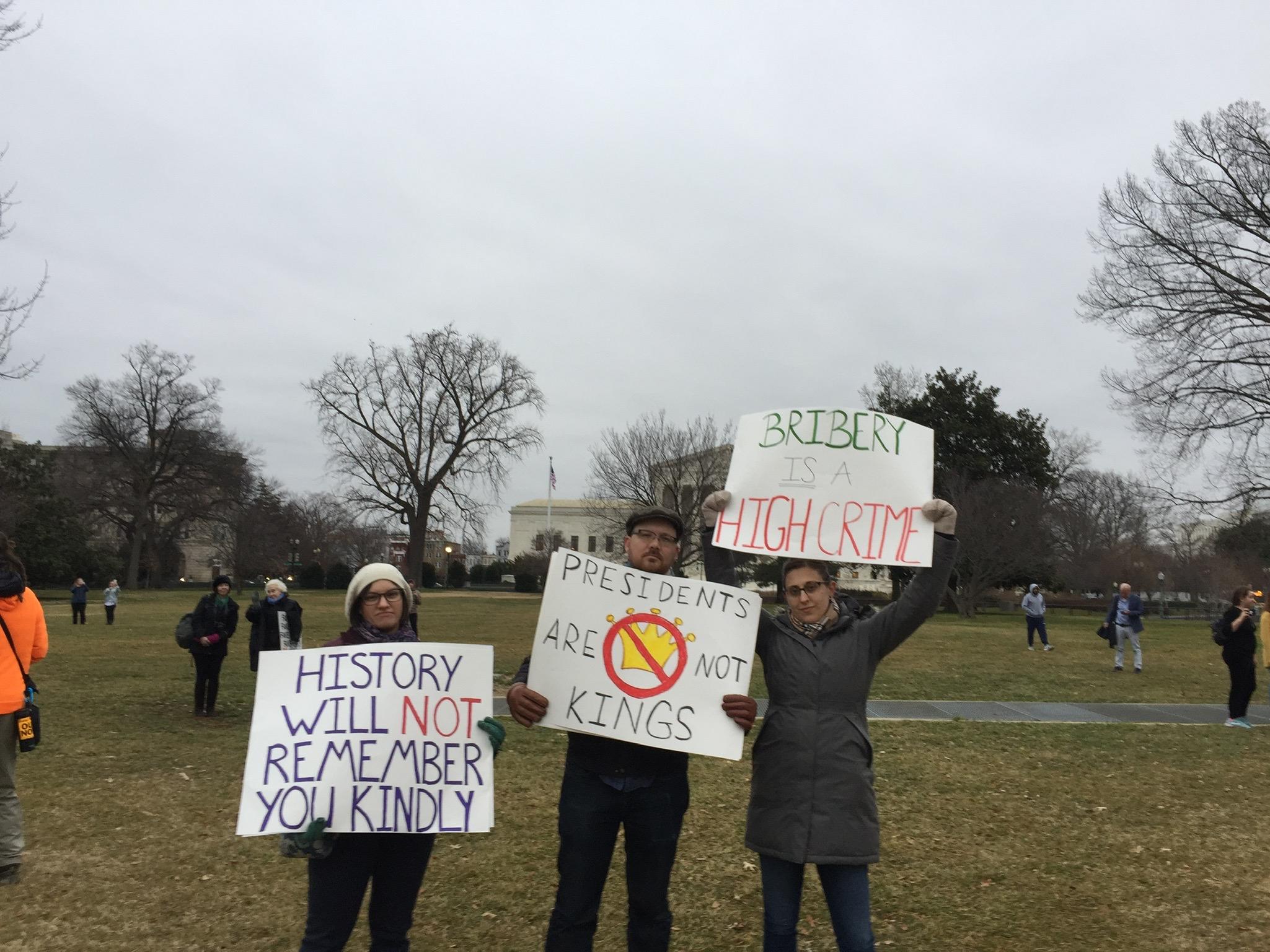 Trump impeachment trial protestors.