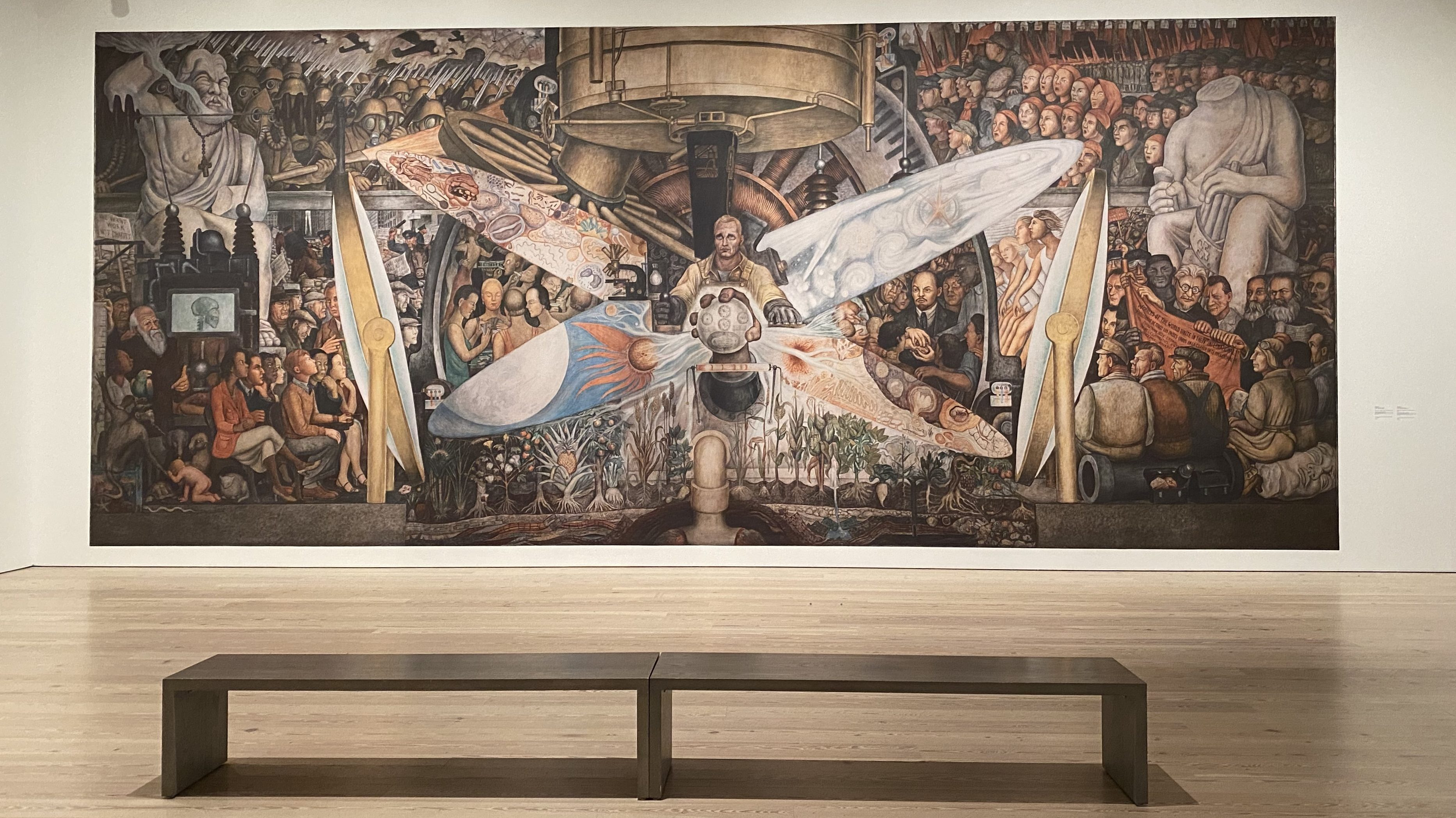 Lead image: Diego Rivera mural for Rockefeller Center reproduced at the Whitney Museum