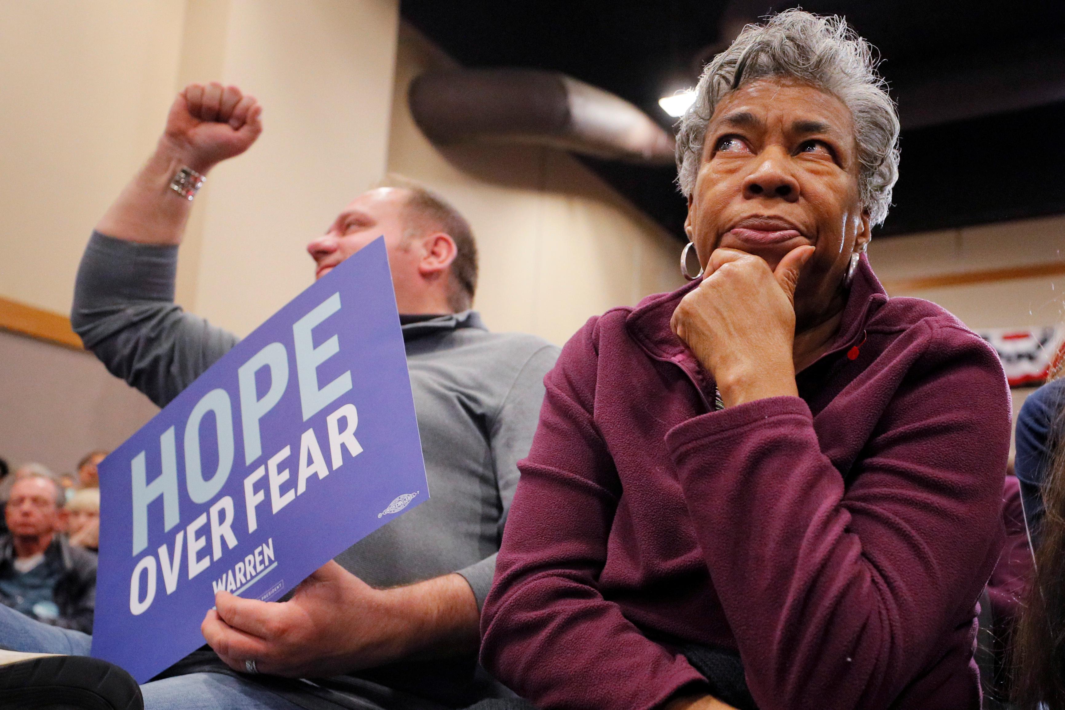 Democratic 2020 US presidential candidate Warren in Iowa