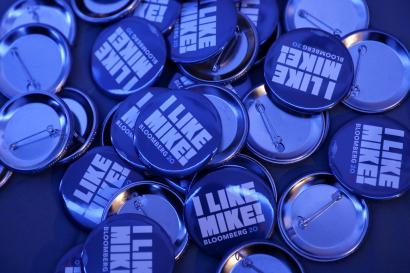 Campaign buttons for Democratic presidential candidate and billionaire Michael Bloomberg.