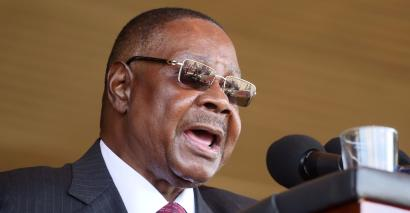 Malawi's President Peter Mutharika addresses guests during his inauguration ceremony in Blantyre