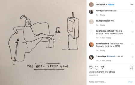 """liana finck cartoon featuring a knight watcing TV with the caption, """"the hero stays home"""""""
