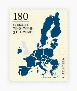 Um selo mostrando a Europa e o Reino Unido em cinza com 29.3.2019 riscado e 31.1.2020 impresso abaixo