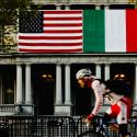 US and Italian flags side by side.