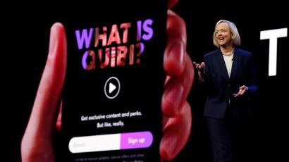 Quibi CEO Meg Whitman speaks during a Quibi keynote address at the 2020 CES in Las Vegas