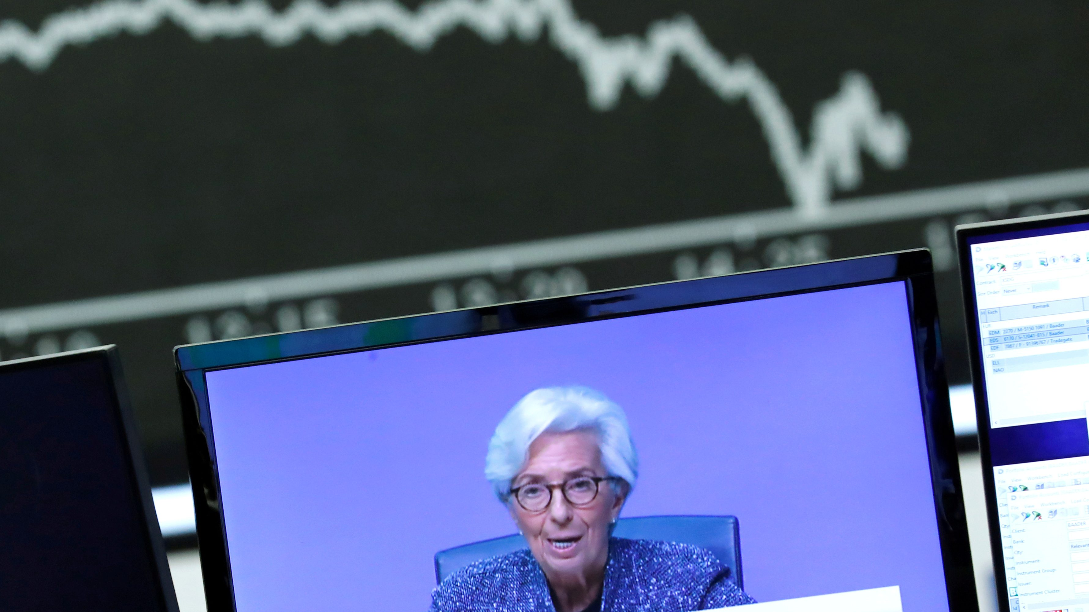 A television broadcast showing Christine Lagarde