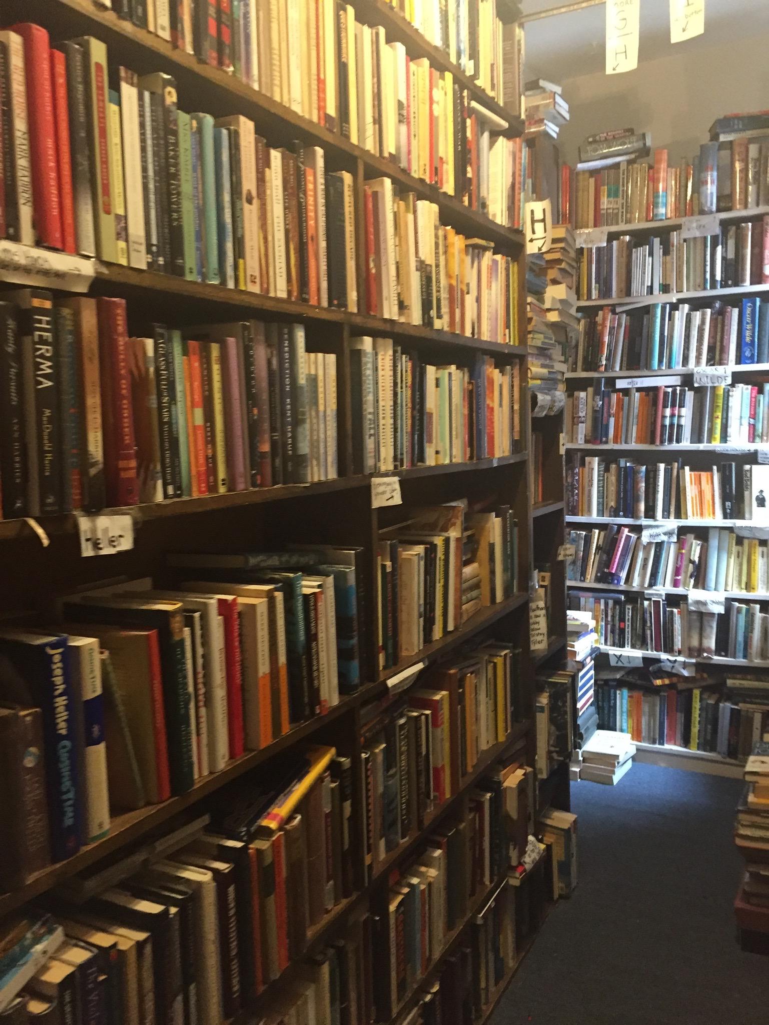 Bursting bookshelves.