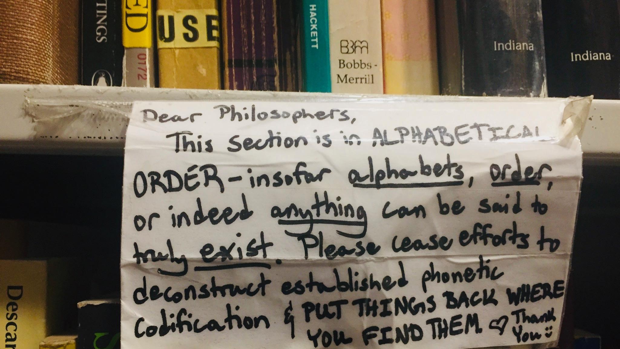 Used bookstore philosophy jokes.