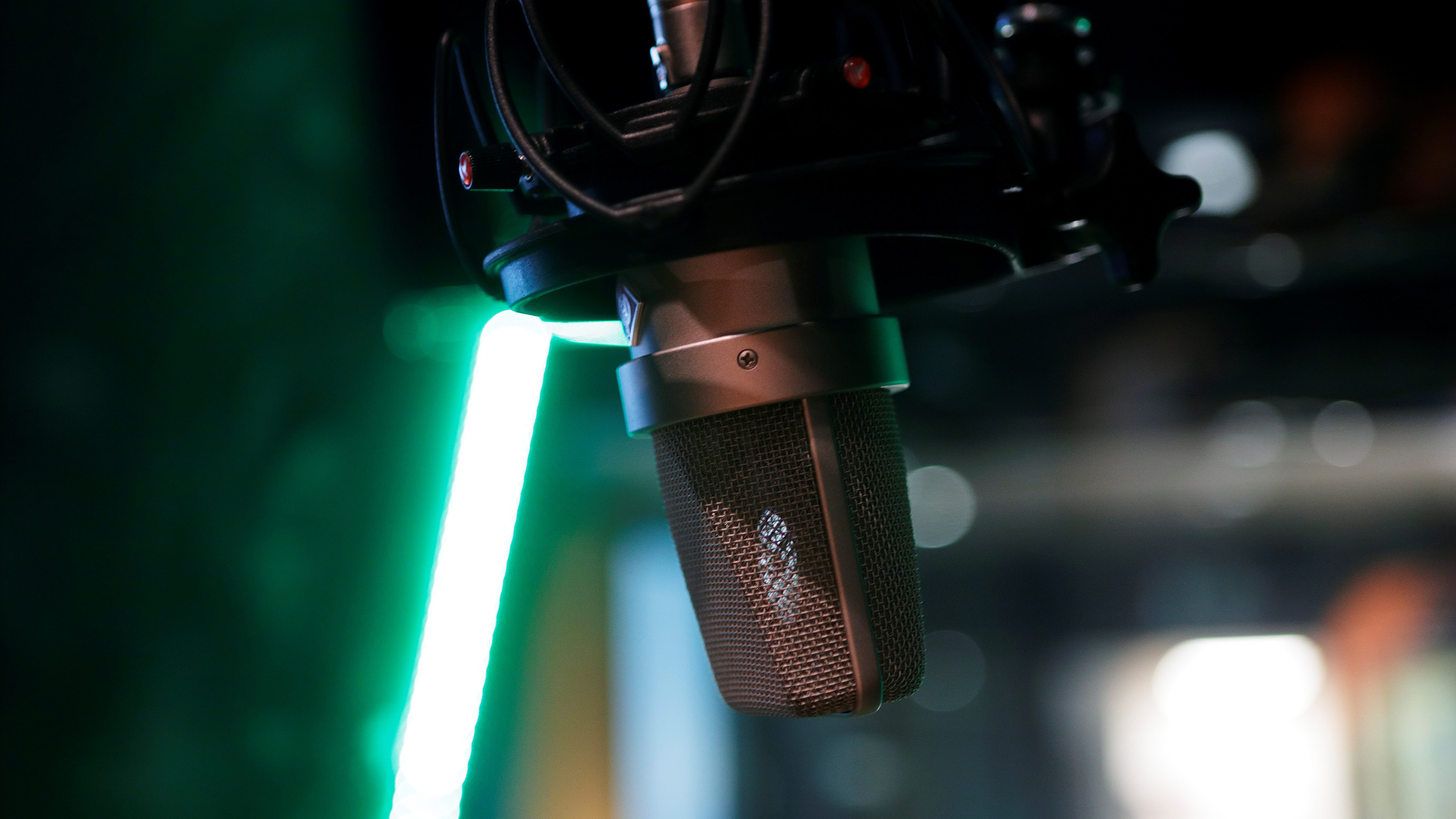 A microphone is seen at a recording studio