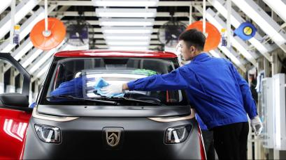 Electric vehicle assembly plant in China.